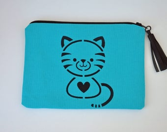 Pouch / bag cat in turquoise cotton with leather tassel