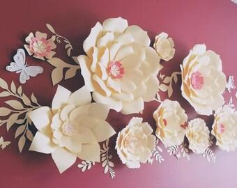 Large paper flowers cream nursery wall. Giant white paper flowers nursery wall. 3D nursery paper flowers cream. Nursery wall decor.