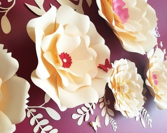 Large paper flowers wall. Nursery paper flowers wall. Flowers home decor. Wedding flowers wall. Party flowers decor.