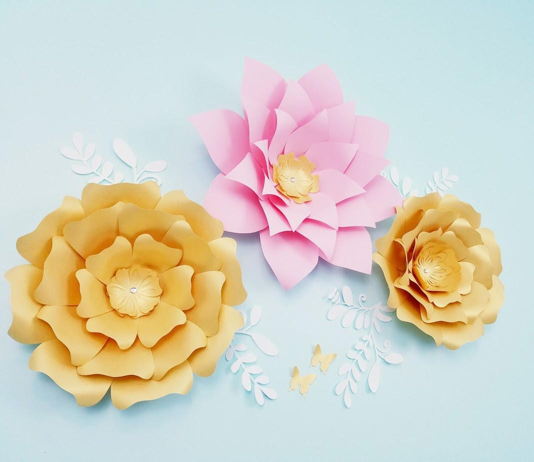 Paper flowers wall decor. Large gold paper flowers wall decor ...