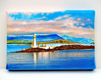 Lighthouse from the Sound of Mull #2, small painting on a linen canvas, miniature