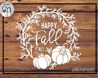 Fall svg, Happy Fall svg, Halloween svg, Pumpkin svg, Fall wreath, Cricut and Silhouette files, Pumpkin Clipart, floral Svg, Dxf, Jpg, Svg