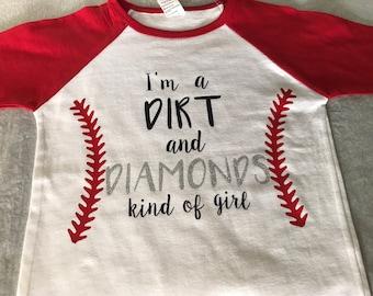 ADORABLE girls baseball tee