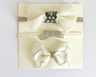 Green and Cream Bow collection