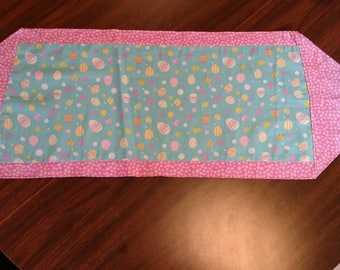 Easter Eggs and Pink Polka Dots Reversible Table Runner