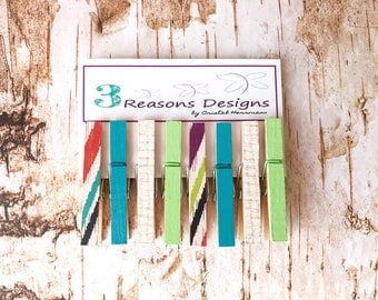 Teal Clothespins - Summer decor - Photo Display - Office Organization - Decorative Clothespins - Card Holders - Fridge Magnets - Party Decor