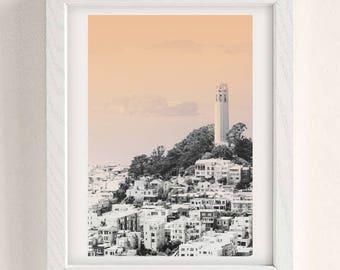 San Francisco Art, City Print, San Francisco Print, city skyline, Pastel Decor, Peach Print, Modern wall decor, Wall Art Decor