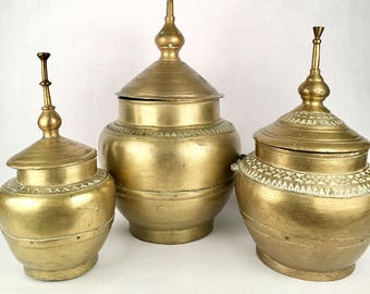 Brass Pots with Lids, Set of 3