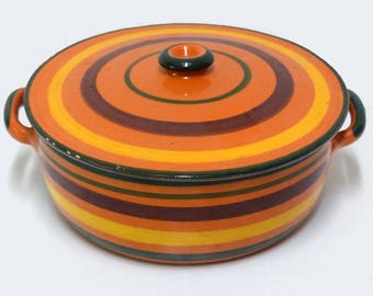 Vintage ceramic casserole dish orange with stripes