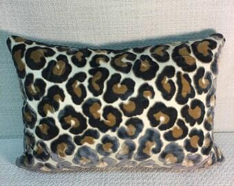 Kravet Velvet Leopard  Kidney Pillow