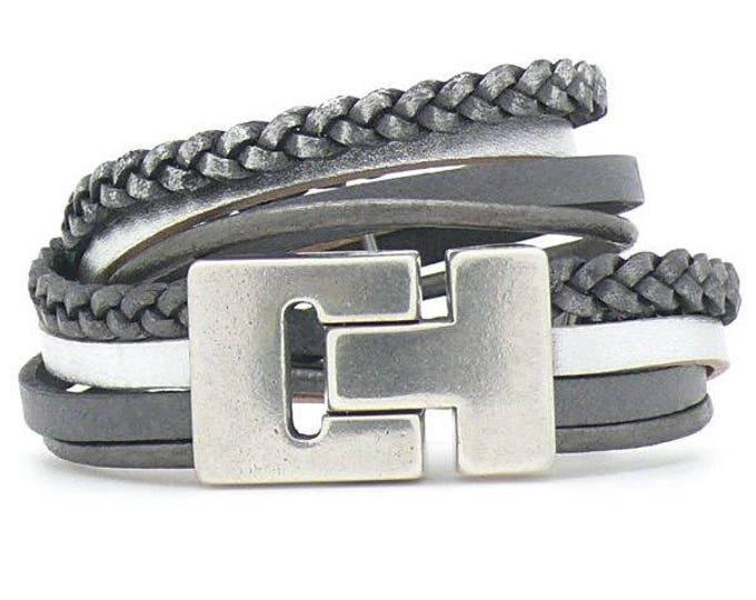 Bracelet Bracelet Leather Grey silver magnetic clasp dqmetaal beads Bracelet Wrap Bracelet