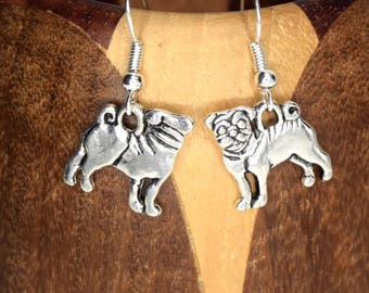 Dog earrings silver metal duplex, dog clips silver Pug