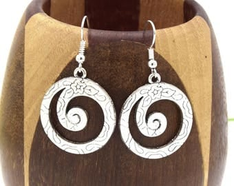 Spiral round floral Silver earrings shiny, spiral earrings