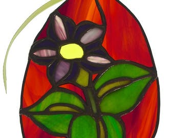 Large Egg With Flower - Stained Glass