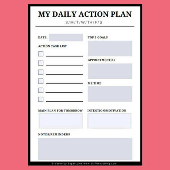 Daily Plan Of Action With Day Of The Week Daily Action Plan