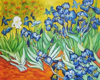 """Oil Painting Wall Art Van Gogh Canvas Painting, Irises -  20""""x24"""" Hand Painted Oil Painting- Vincent Van Gogh Reproduction Free Shipping"""