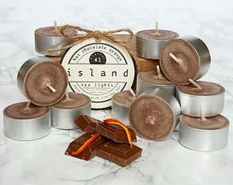 hot chocolate orange scented soy tea lights