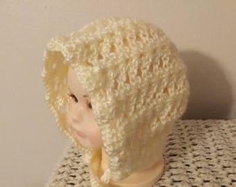 Crochet baby bonnet newborn to three months