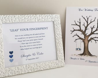 Fingerprint Guest Book Print, wedding, thank you, leaf finger print