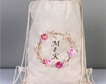 Bridal Bags, Personalized Bridal Backpack, Natural Wedding Bags, Cotton Bridal Gifts,  Canvas Bridal Bag, Wreath Wedding Bag, Bridal Shower