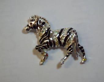 Zebra Horse Vintage Bob Mackie Signed Enamel And Crystal Brooch