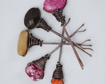Boho Beaded Bobby Pins