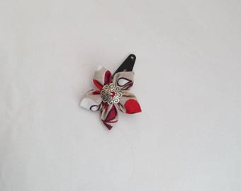 Ecru, white, Burgundy, red colored fabric flower hair clip