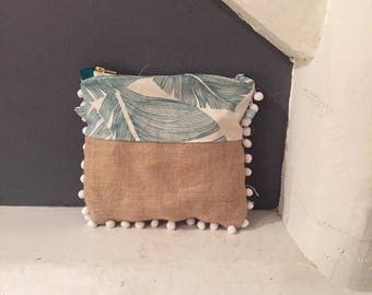 Clutch bag, Burlap, Palm and tassel