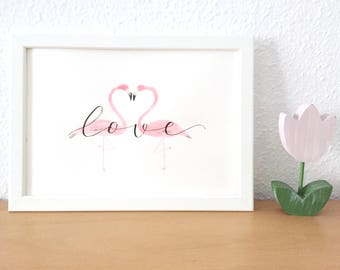 Downloadable foil for printing. Hand-painted flamingos with watercolors and lettering.