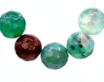 48 / 24 Pcs - 8MM Green Agate Beads Grade A Faceted Round Natural Gemstone Loose Beads (100579-393)