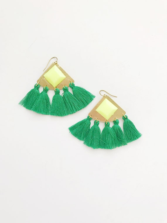 Neon Gem and Green Tassel Earrings