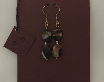 Gold Dangle Earrings with Marble Glass Beading.