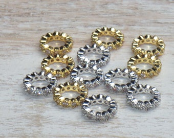 Large Hole Cz Crystal Rondelle Spacer Beads in Gold or Silver