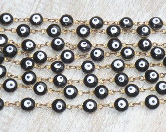 6mm Black and White Evil Eye Beads Brass Chain 3ft.