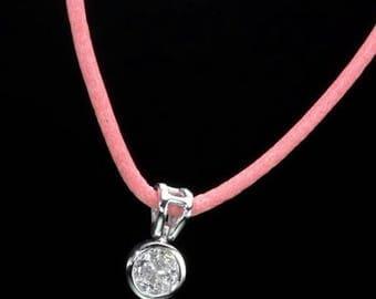 Leather Diamond Necklace,14k,White Gold,Natural Diamond,round