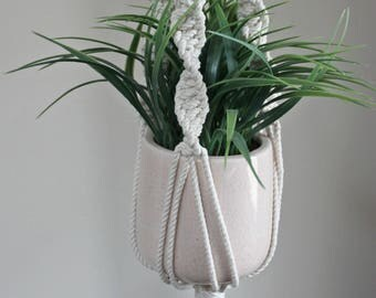 Cream Macrame Plant Hanger with Wooden Beads