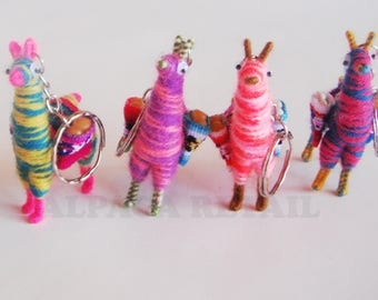 Tiny Llama Keychain, ethnic decoration, gift bag accessories,Zebra llama charm bag Andean Collectible Handcrafted Miniature Figurine