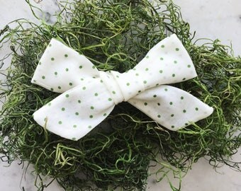 Green Polka-Dotted Cotton Voile Bow