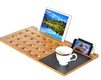"ROYAL CRAFT WOOD LapDesk Stand, Student Lap Desk Bamboo Slate for 11""-13""-15"" Laptop, with Cooling and Mouse Pad."