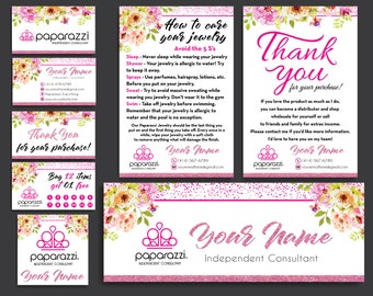 Paparazzi Marketing Kit, Paparazzi Starter Bundle, Paparazzi Pink Glitter, Paparazzi Flower Cards, Free Personalization, Printable file PP25