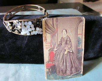 Victorian Cuff Bracelet with tiny Moonstones and Victorian Photo.