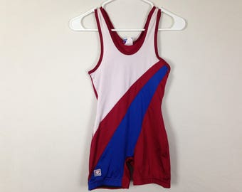 Red white and blue USA workout onesie with shorts