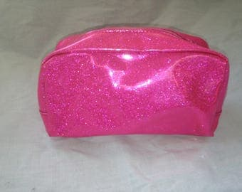 Pink metallic sparkly pouch bag