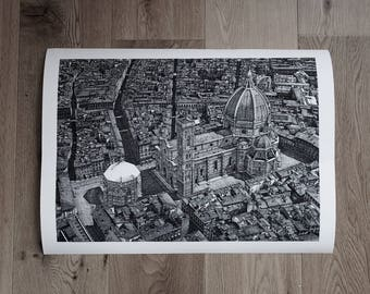 Piazza Del Duomo Florence A2 print