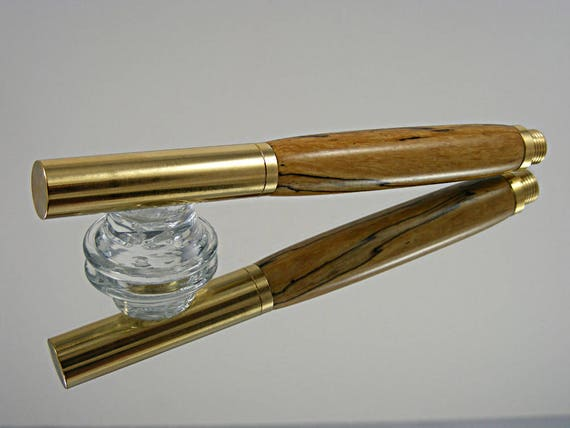 Handcrafted Industrial Rollerball Pen with Solid Brass and Spalted Tamarind Wood