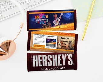 Personalized Coco Hershey's Chocolate Bar Wrapper Miguel Dante Guitar Candy Bar Wrappers Birthday Party Favors DIY - Digital File