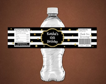 Personalized Black and White Water Bottle Label Baby Shower Wedding Birthday Party Stripes Gold Accent Gold Dots Printable DIY- Digital File