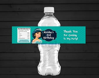 Personalized Princess Jasmine Water Bottle Label Turquoise Polka Dots Birthday Party Printable DIY - Digital File