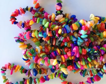 "Dyed Chips Natural Freshwater Shell Beads (Colorful / Rainbow) - 16"" strand"