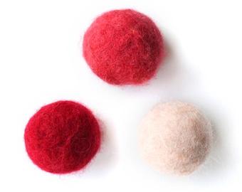 3 Handmade Felt Cat ball-Cat toy-100% wool